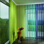 multicolored-vertical-blinds-for-sliding-glass-doors-decoration-paired-with-unique-corner-cone-glass-vase-set-on-laminate-floor